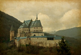 Paper texture with image of Vianden Castle, Luxembourg.
