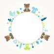 Teddy Baby Symbols Boy Frame Beige