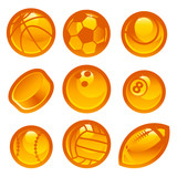 Set of shiny gold sport balls icons