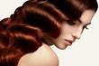 Leinwanddruck Bild - Brown Hair. Portrait of Beautiful Woman with Long Wavy Hair. Hig