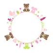 Teddy Baby Symbols Girl Frame