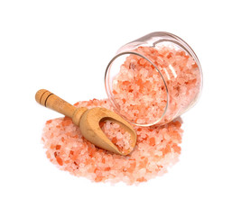 himalayan pink salt in wooden spoon,small jar of glass