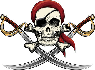 Skull with sabers