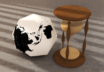Polygon Earth with clock