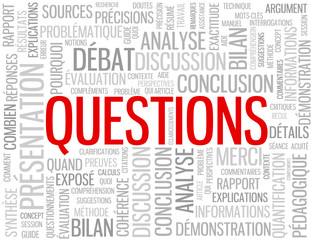 "Diapositive ""QUESTIONS"" (présentation fin merci faq conclusions)"