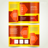 brochure design trifold leaflet red arrow ribbon poster