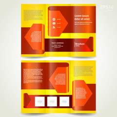 brochure design trifold leaflet red arrow ribbon