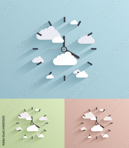 Vector flat clock background. Eps10