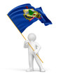 Man and flag of Utah (clipping path included)