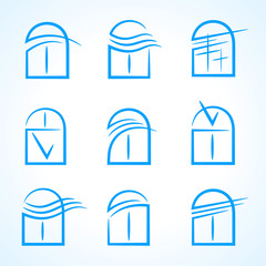 windows set emblem symbol element vector icons