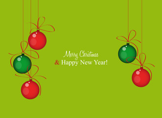 greeting card with christmas balls and green background