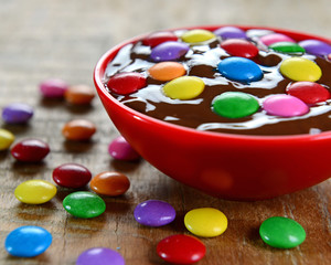 Chocolate sauce and confettis
