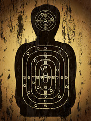 target human silhouette with bullet holes