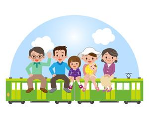 電車の旅をする大家族