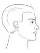 Schwarz-weiße Zeichnung eines Männerportraits von der Seite