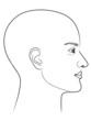 Schwarz-weiße Zeichnung eines Männerprofils mit Glatze