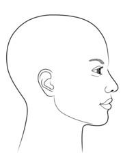 Schwarz-weiße Zeichnung eines Frauenprofils mit Glatze