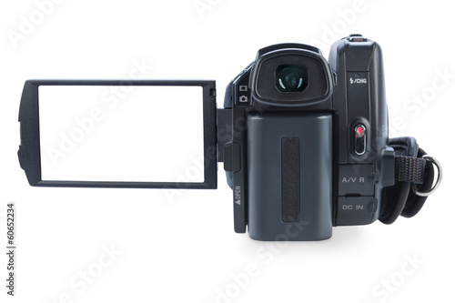 Camcorder with open lcd display, isolated on white background. S