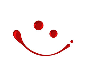 Blood, jam, ketchup or red paint droplets smiley  vector