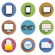 Vector flat technology circle icon set. Eps10