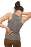 Attractive female  suffers from backache and neck pain