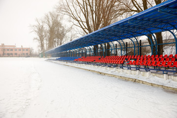 seat on   stands in winter