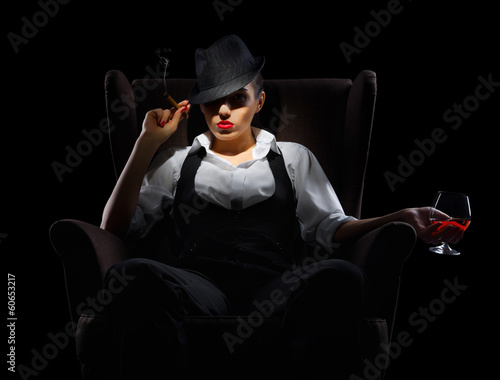 Poster Mafiosi woman with cigar and cognac glass