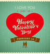 Happy Valentine day message, red heart vintage banner