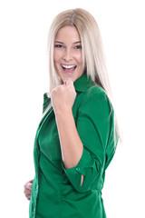 Erfolgreiche junge Frau - lachend und glücklich