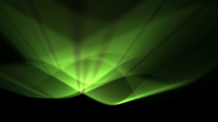 abstract background of green light waves in curved motion