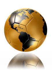 gold soccer ball with world map america