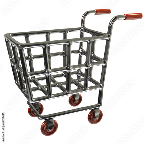Empty supermarket shopping cart