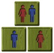 toilets WC sign for men and women (wooden background)