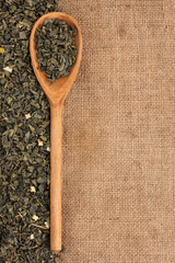 Spoon with green tea