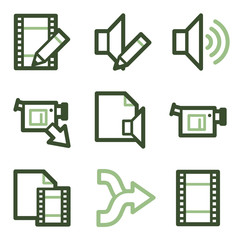 Audio video edit icons, green line contour series
