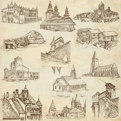 Architecture around the World (no.8) - hand drawings on paper