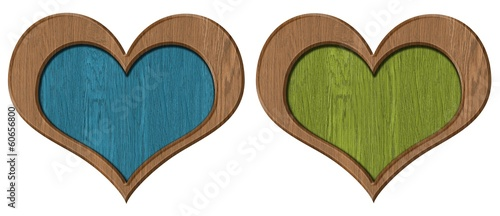 Wood heart on white background