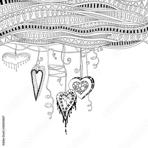 Vector abstract floral decorative background with doodle hearts. © juliasnegi
