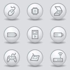 Electronics web icons set 2, circle white matt buttons