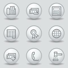 Finance web icons set 2, circle white matt buttons