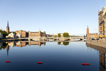Stockholm, Sweden. Embankment and its reflection in the water ea