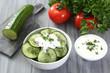 insalata di cetriolo con verdure e yogurt