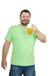 Bearded man holds light beer mug