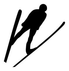 Silhouette of Ski Jumper