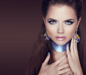 Jewelry Woman. Beauty portrait of fashion model woman posing. Ma