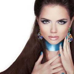 Beauty Fashion Woman Portrait. Jewelry. Makeup and manicured nai