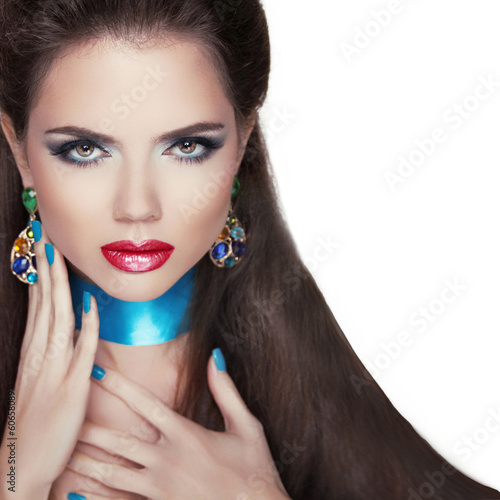 Beauty Fashion Woman Portrait. Jewelry accessories. Colourful ge