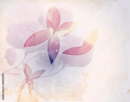 Fairy butterflies  / Romantic floral background