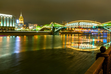 pedestrian bridge across the Moscow river at night