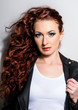 canvas print picture - Red Hair. Beautiful Woman with Curly Long Hair